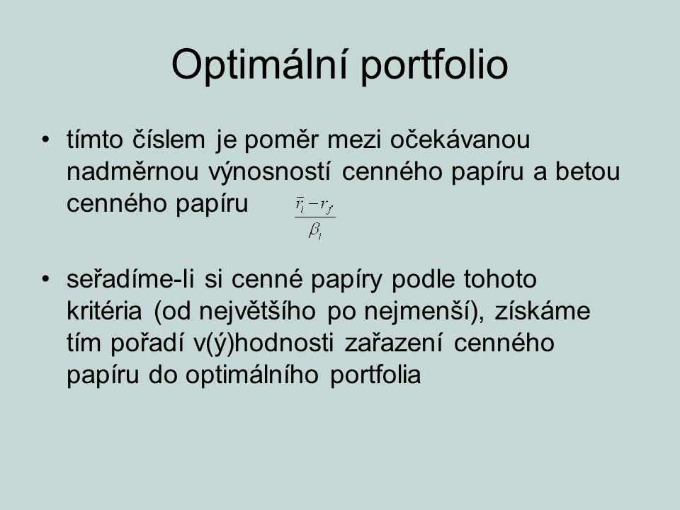 Optimální portfolio tímto číslem je poměr mezi očekávanou nadměrnou výnosností cenného papíru a betou cenného papíru seřadíme-li si cenné papíry podle