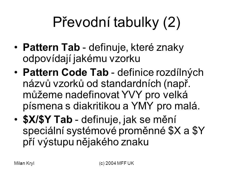 Milan Kryl(c) 2004 MFF UK Převodní tabulky (3) Translation Tab - převod znaku nebo skupiny na jinou.
