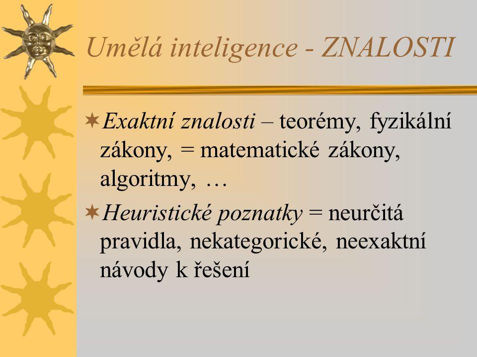 Umělá inteligence - ZNALOSTI  Exaktní znalosti – teorémy, fyzikální zákony, = matematické zákony, algoritmy, …  Heuristické poznatky = neurčitá prav