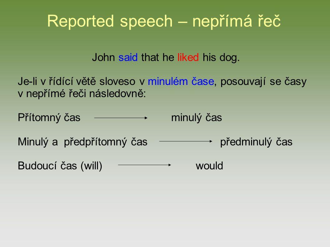 Reported speech – nepřímá řeč He said: I live in Prague. He said (that) he lived in Prague.