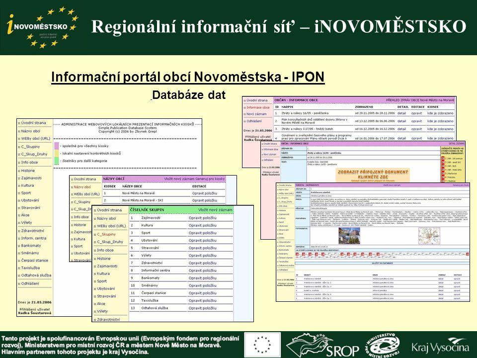 Regionální informační síť – iNOVOMĚSTSKO Informační portál obcí Novoměstska - IPON Databáze dat
