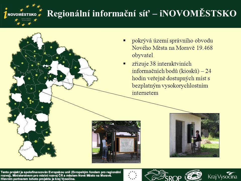 Regionální informační síť – iNOVOMĚSTSKO  pokrývá území správního obvodu Nového Města na Moravě 19.468 obyvatel  zřizuje 38 interaktviních informačn
