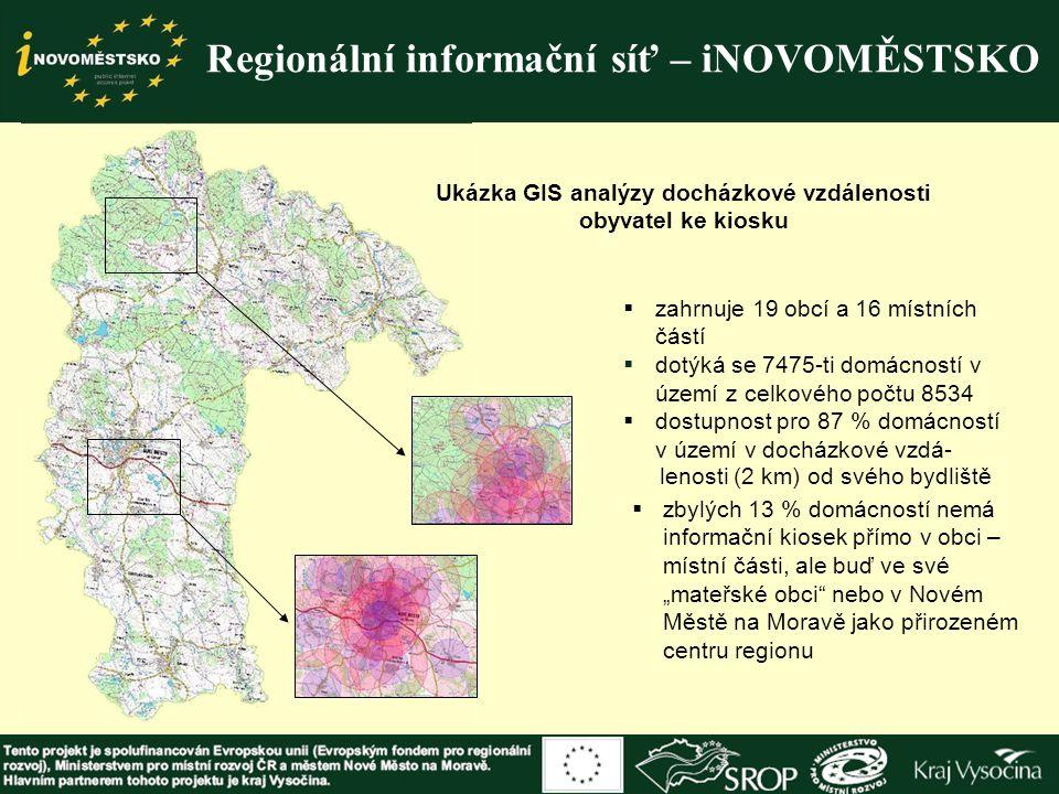 Regionální informační síť – iNOVOMĚSTSKO Ukázka GIS analýzy docházkové vzdálenosti obyvatel ke kiosku  zahrnuje 19 obcí a 16 místních částí  dotýká