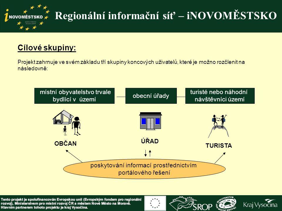 Cílové skupiny: Projekt zahrnuje ve svém základu tří skupiny koncových uživatelů, které je možno rozčlenit na následovně: Regionální informační síť –