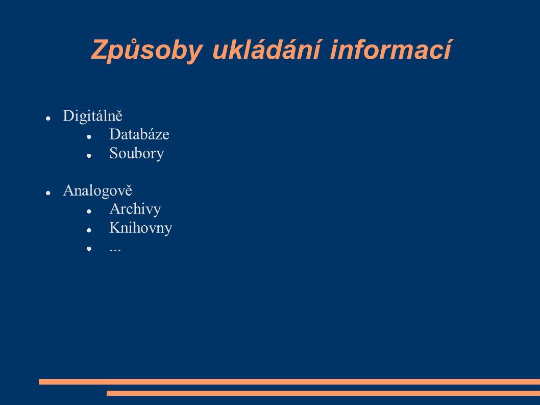 Způsoby ukládání informací Digitálně Databáze Soubory Analogově Archivy Knihovny...