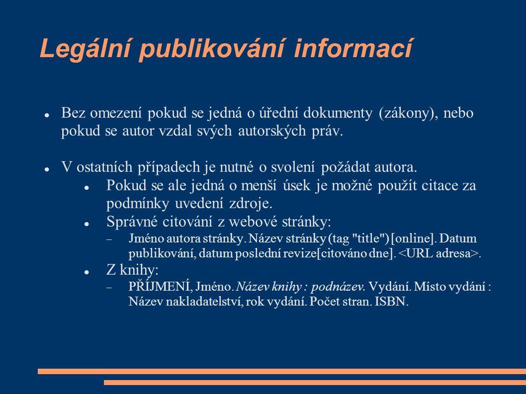 Legální publikování informací Bez omezení pokud se jedná o úřední dokumenty (zákony), nebo pokud se autor vzdal svých autorských práv.