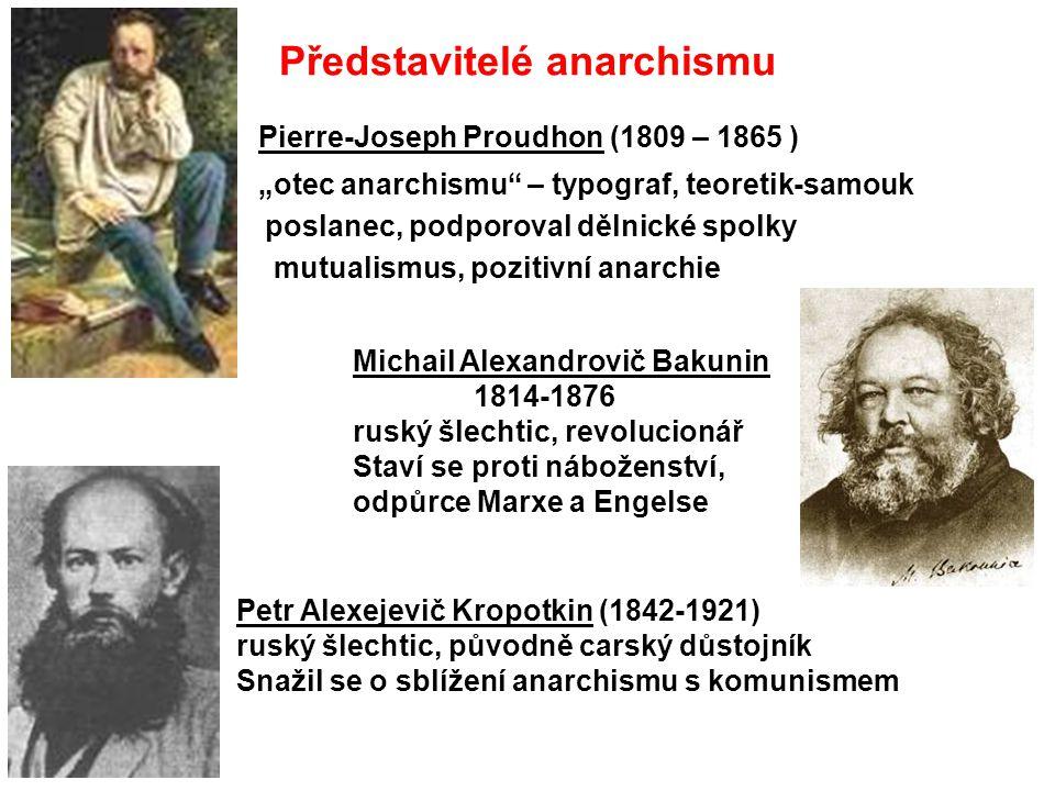 """Představitelé anarchismu Pierre-Joseph Proudhon (1809 – 1865 ) """"otec anarchismu"""" – typograf, teoretik-samouk poslanec, podporoval dělnické spolky mutu"""
