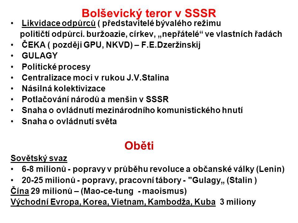 """Bolševický teror v SSSR Likvidace odpůrců ( představitelé bývalého režimu političtí odpůrci. buržoazie, církev, """"nepřátelé"""" ve vlastních řadách ČEKA ("""