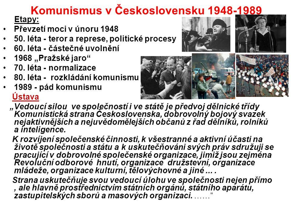 Komunismus v Československu 1948-1989 Etapy: Převzetí moci v únoru 1948 50. léta - teror a represe, politické procesy 60. léta - částečné uvolnění 196
