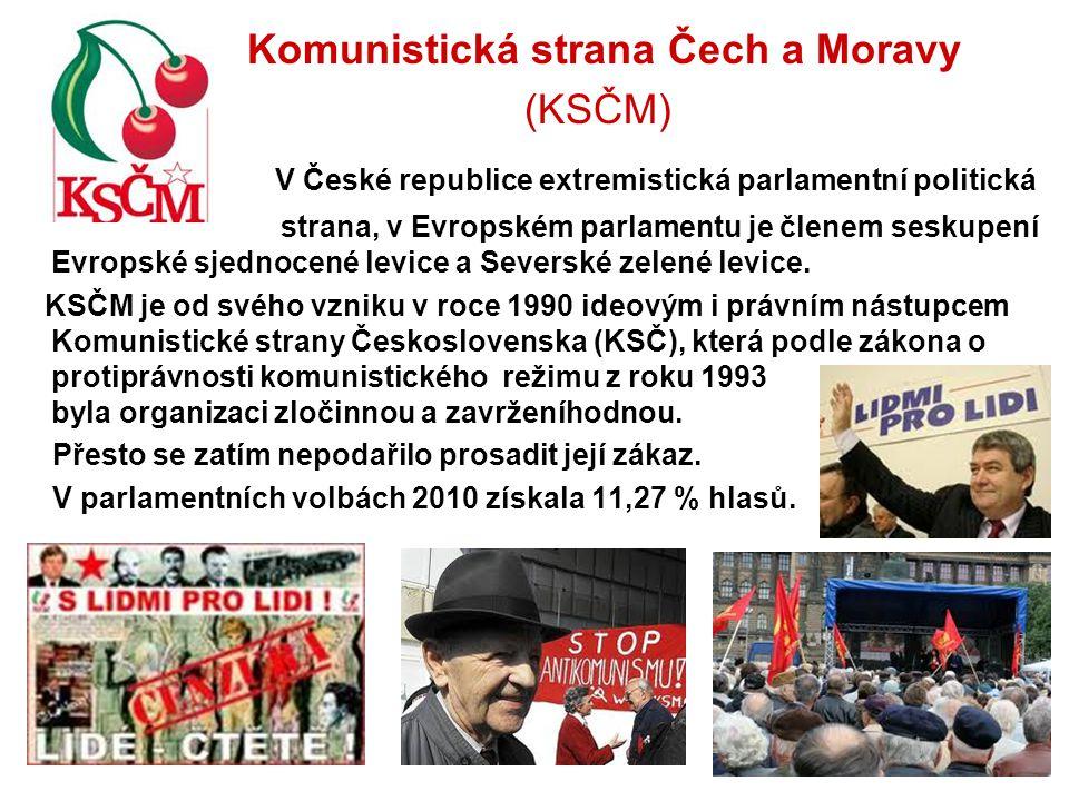 Komunistická strana Čech a Moravy (KSČM) V České republice extremistická parlamentní politická strana, v Evropském parlamentu je členem seskupení Evro