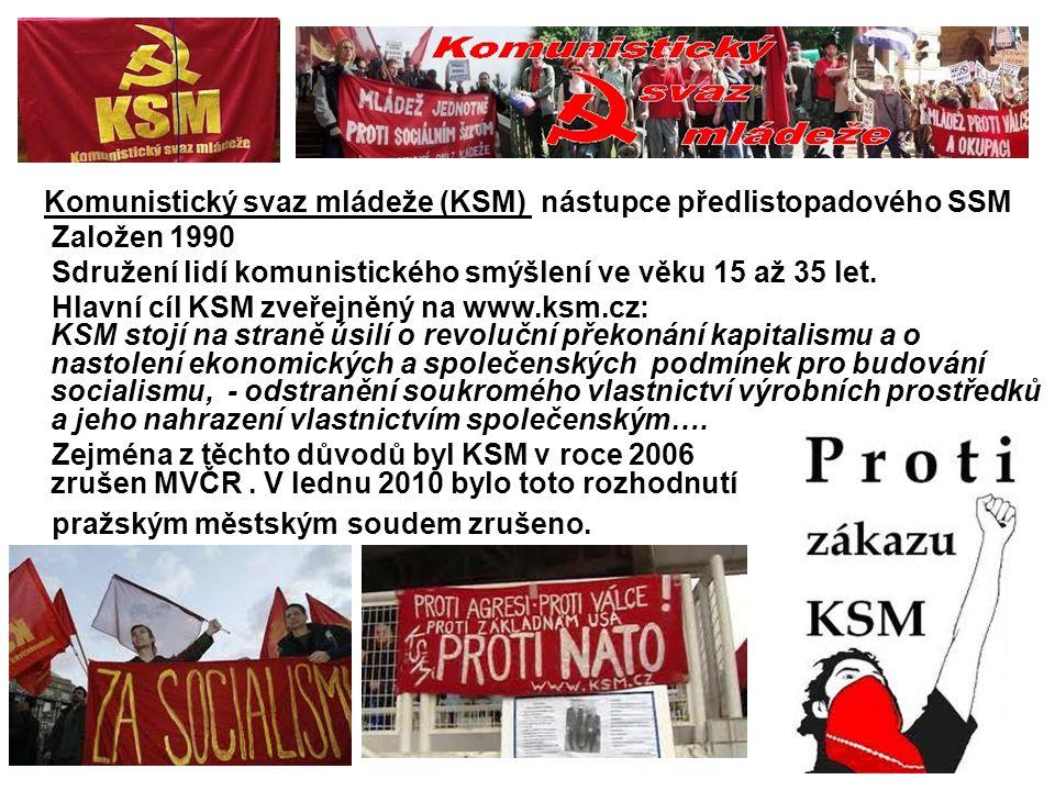 Komunistický svaz mládeže (KSM) nástupce předlistopadového SSM Založen 1990 Sdružení lidí komunistického smýšlení ve věku 15 až 35 let. Hlavní cíl KSM