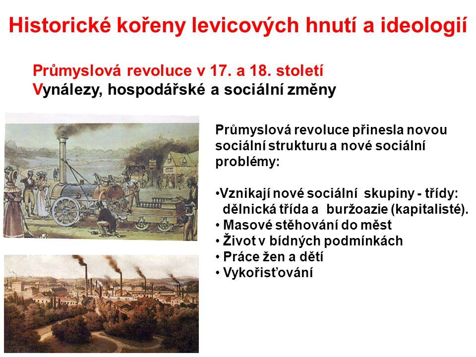 Utopický socialismus (rovnostářský komunismus) (Utopia – název knihy anglického filosofa 16.století Thomase Mora) Představa ideální spravedlivé společnosti Henri de Saint Simon (1760-1825) francouzský myslitel změna poměrů spojením vědy, náboženství a morálky Robert Owen (1771-1858) britský podnikatel snažil se o vytvoření dobrých pracovních podmínek Charles Fourier (1772-1837) francouzský filosof-materialista neúspěšné pokusy o založení pracovních komun