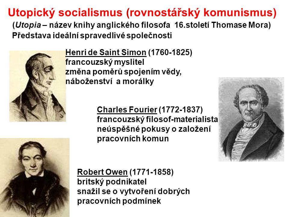 Utopický socialismus (rovnostářský komunismus) (Utopia – název knihy anglického filosofa 16.století Thomase Mora) Představa ideální spravedlivé společ