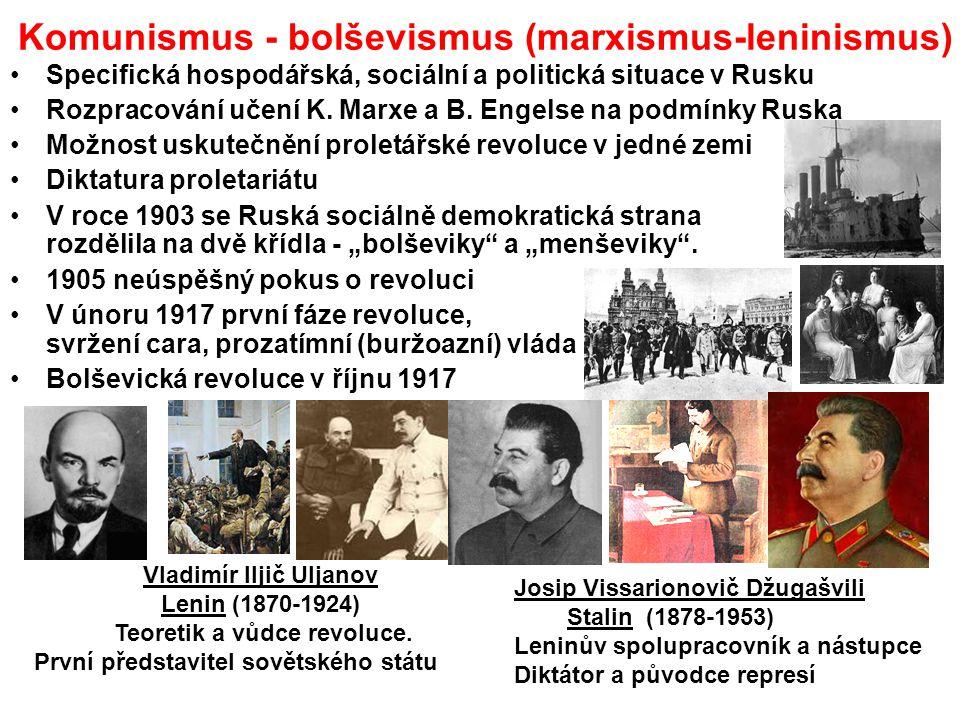Komunismus - bolševismus (marxismus-leninismus) Specifická hospodářská, sociální a politická situace v Rusku Rozpracování učení K. Marxe a B. Engelse