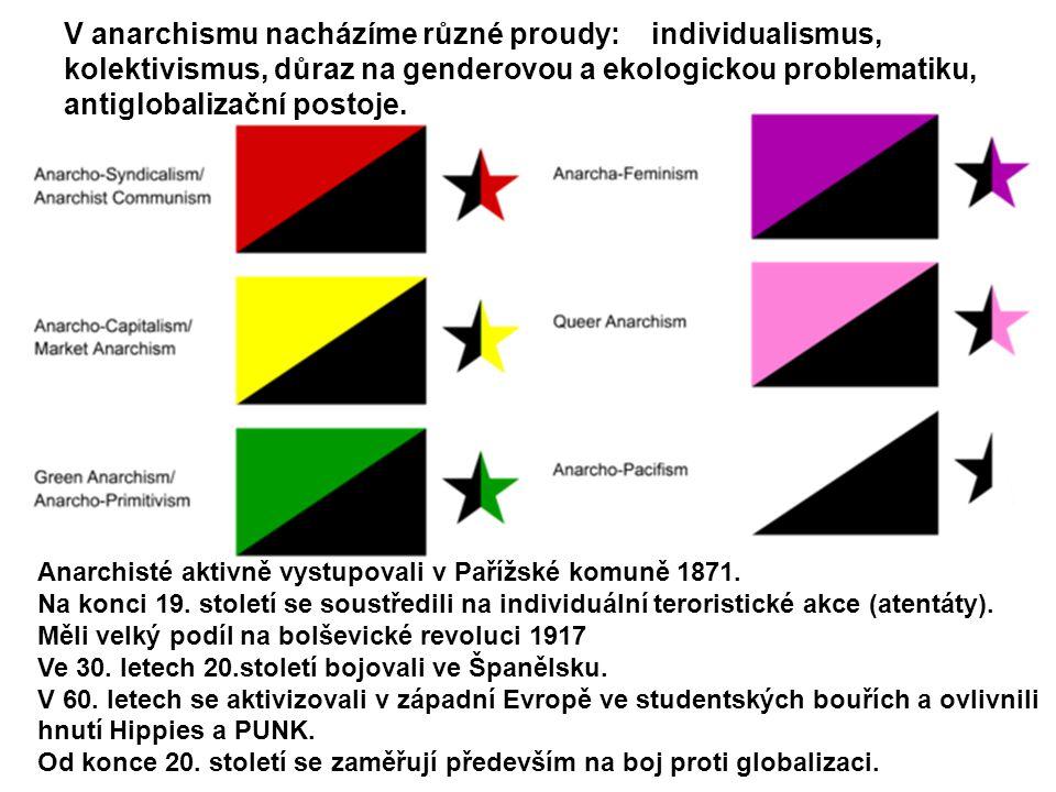V anarchismu nacházíme různé proudy: individualismus, kolektivismus, důraz na genderovou a ekologickou problematiku, antiglobalizační postoje. Anarchi