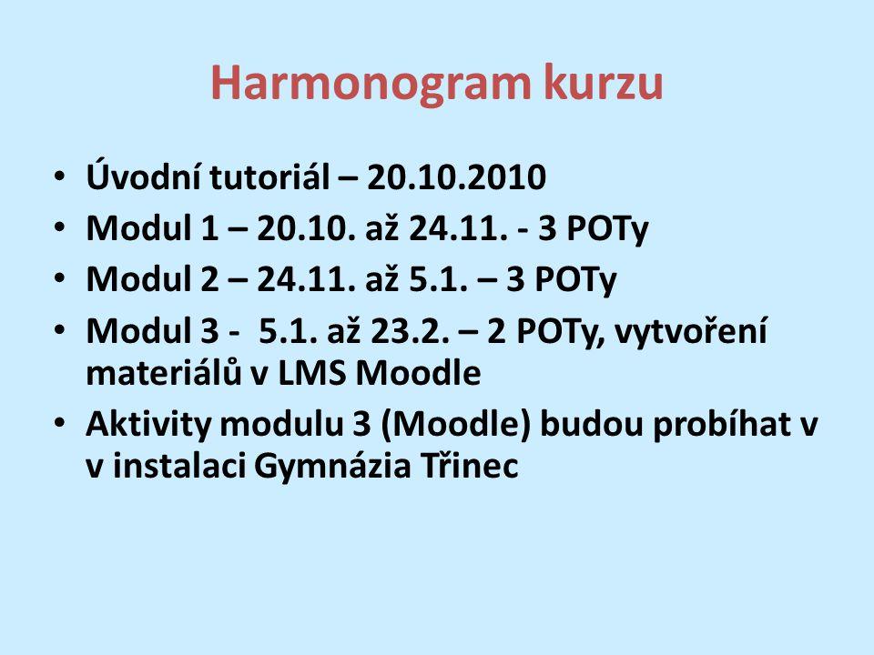 Harmonogram kurzu Úvodní tutoriál – 20.10.2010 Modul 1 – 20.10.