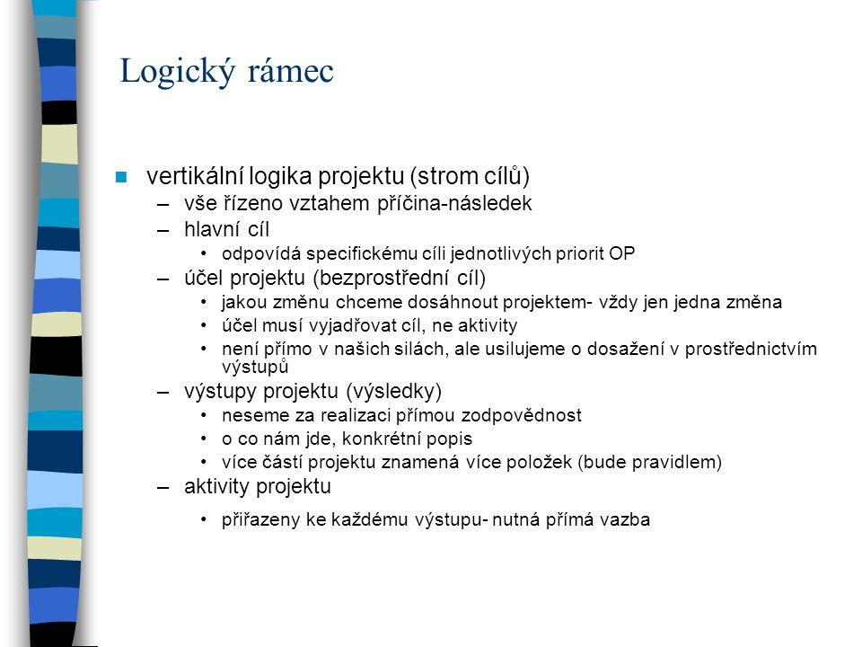 Logický rámec vertikální logika projektu (strom cílů) –vše řízeno vztahem příčina-následek –hlavní cíl odpovídá specifickému cíli jednotlivých priorit OP –účel projektu (bezprostřední cíl) jakou změnu chceme dosáhnout projektem- vždy jen jedna změna účel musí vyjadřovat cíl, ne aktivity není přímo v našich silách, ale usilujeme o dosažení v prostřednictvím výstupů –výstupy projektu (výsledky) neseme za realizaci přímou zodpovědnost o co nám jde, konkrétní popis více částí projektu znamená více položek (bude pravidlem) –aktivity projektu přiřazeny ke každému výstupu- nutná přímá vazba