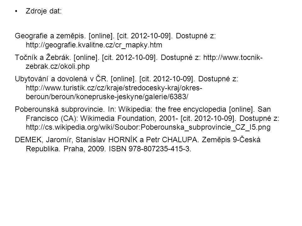 Zdroje dat: Geografie a zeměpis.[online]. [cit. 2012-10-09].