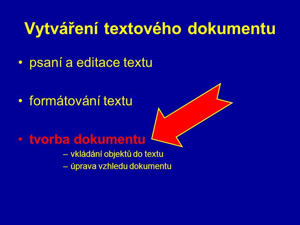 Vytváření textového dokumentu psaní a editace textu formátování textu tvorba dokumentu –vkládání objektů do textu –úprava vzhledu dokumentu