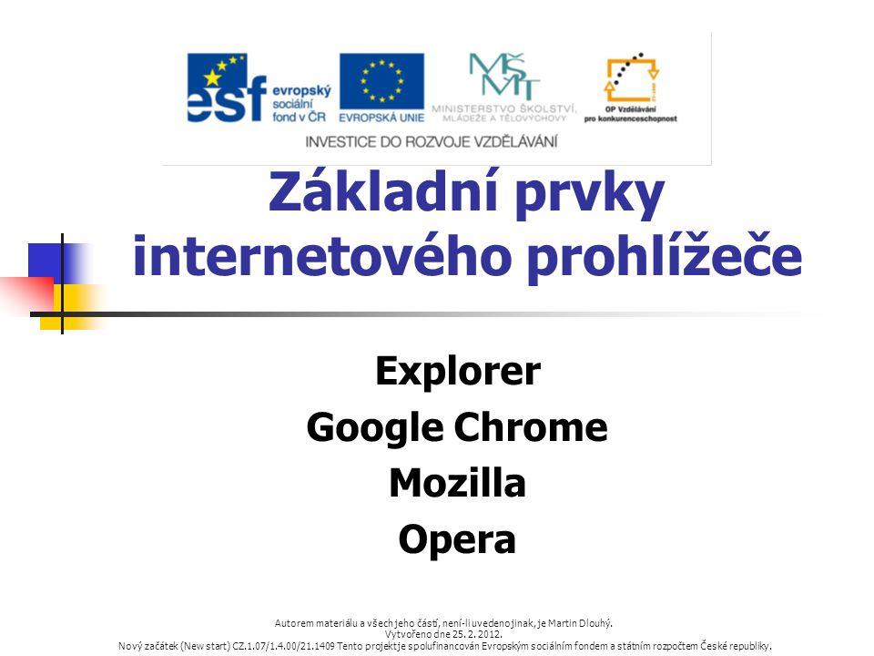 Základní prvky internetového prohlížeče Explorer Google Chrome Mozilla Opera Autorem materiálu a všech jeho částí, není-li uvedeno jinak, je Martin Dl