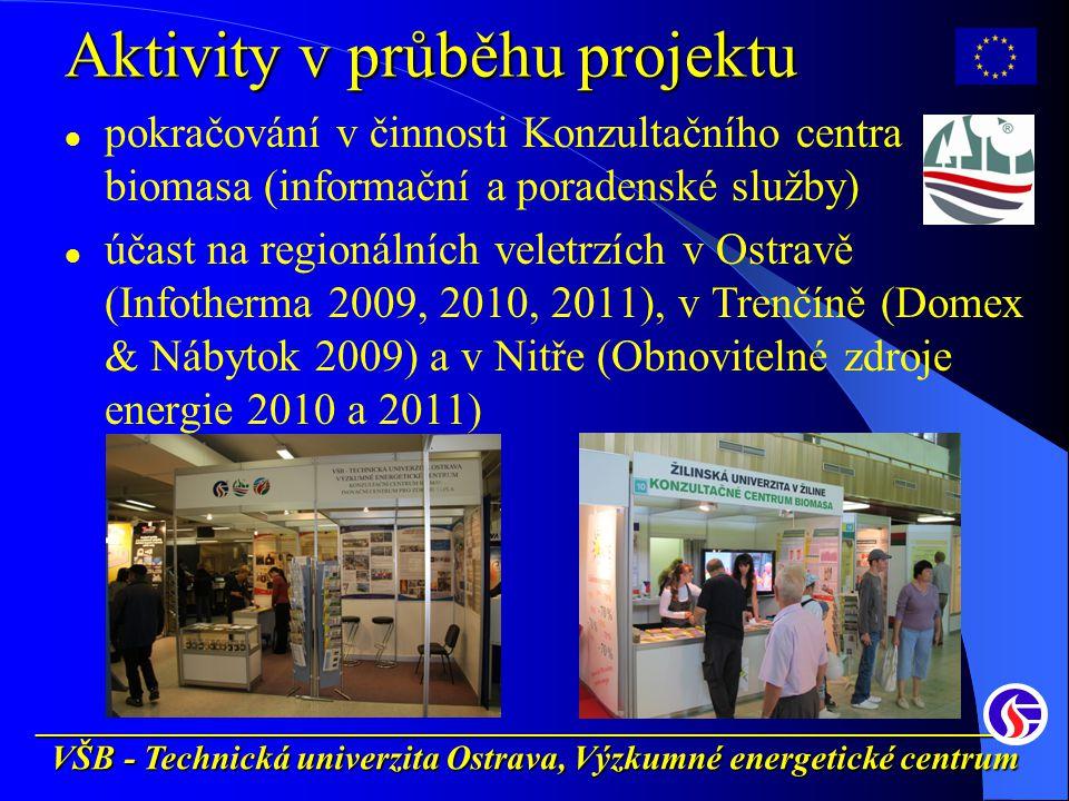 __________________________________________________________ VŠB - Technická univerzita Ostrava, Výzkumné energetické centrum Aktivity v průběhu projektu pokračování v činnosti Konzultačního centra biomasa (informační a poradenské služby) účast na regionálních veletrzích v Ostravě (Infotherma 2009, 2010, 2011), v Trenčíně (Domex & Nábytok 2009) a v Nitře (Obnovitelné zdroje energie 2010 a 2011)