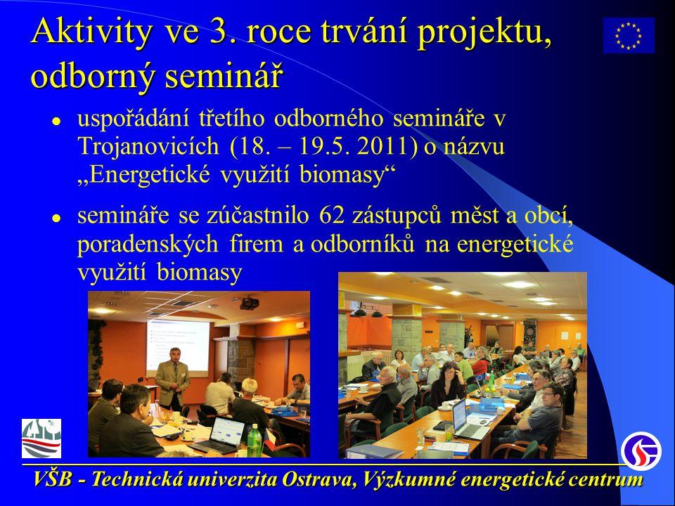 __________________________________________________________ VŠB - Technická univerzita Ostrava, Výzkumné energetické centrum Aktivity ve 3.
