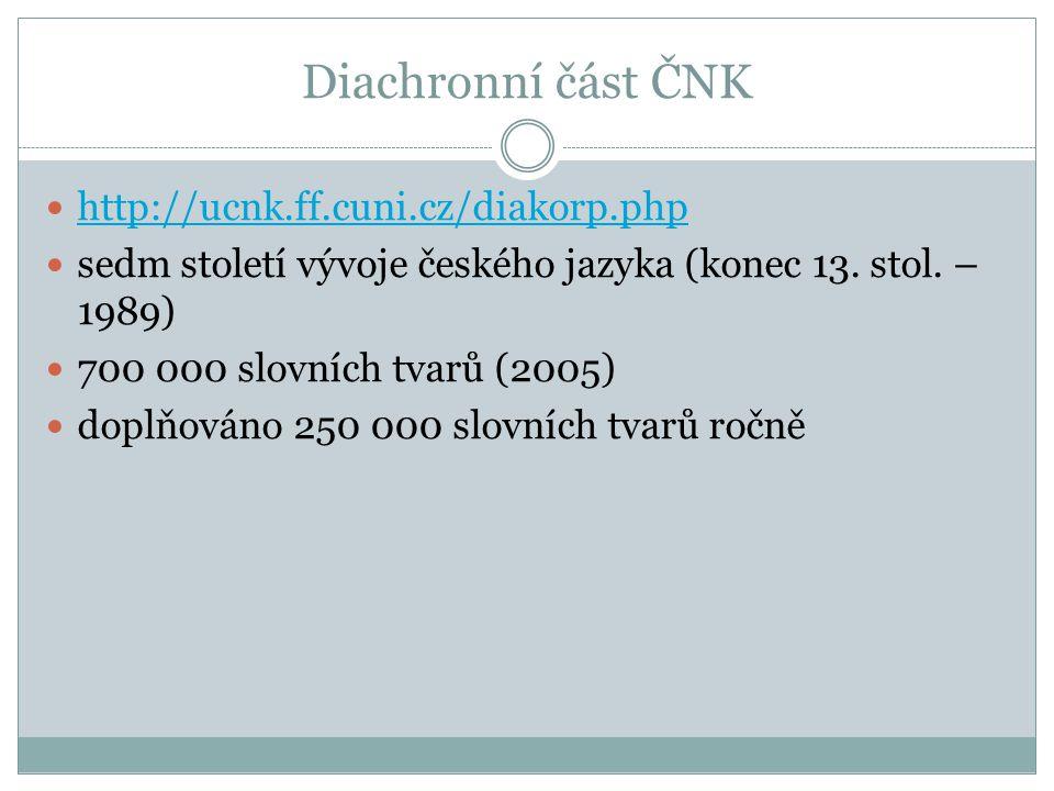 Diachronní část ČNK http://ucnk.ff.cuni.cz/diakorp.php sedm století vývoje českého jazyka (konec 13.