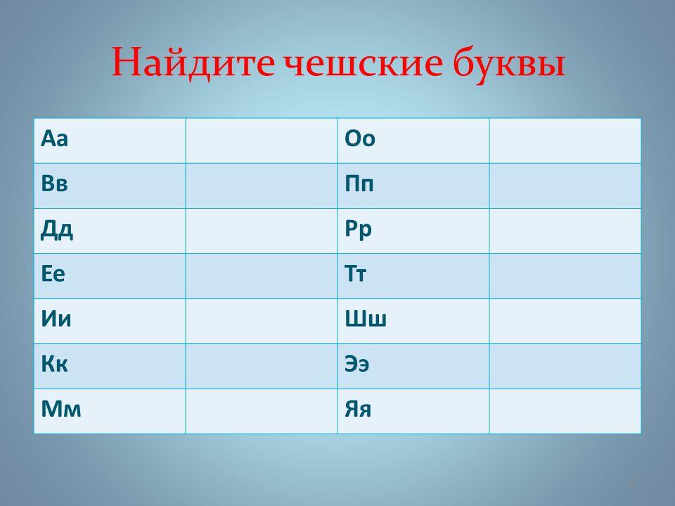 Найдите чешские буквы АаОо ВвПп ДдРр ЕеТт ИиШш КкЭэ МмЯя 3