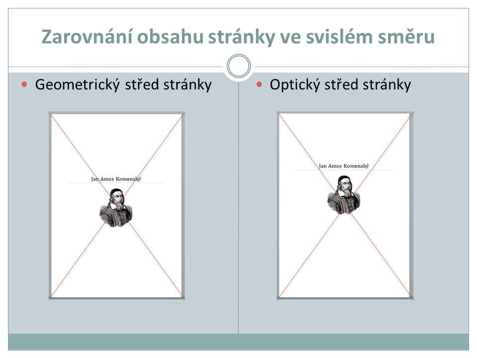 Zarovnání obsahu stránky ve svislém směru Geometrický střed stránky Optický střed stránky