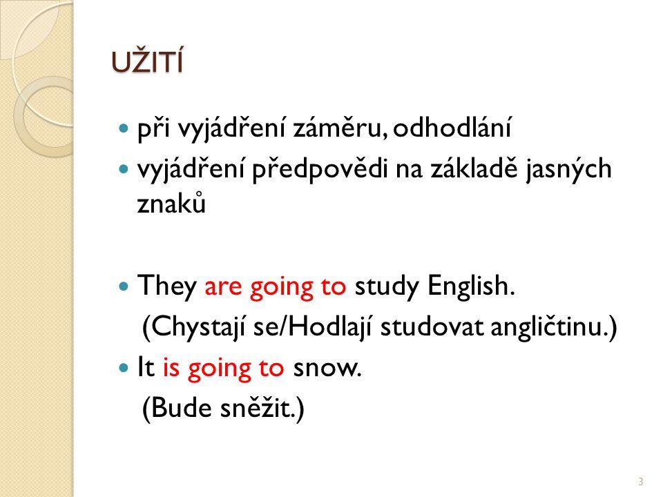 UŽITÍ při vyjádření záměru, odhodlání vyjádření předpovědi na základě jasných znaků They are going to study English.