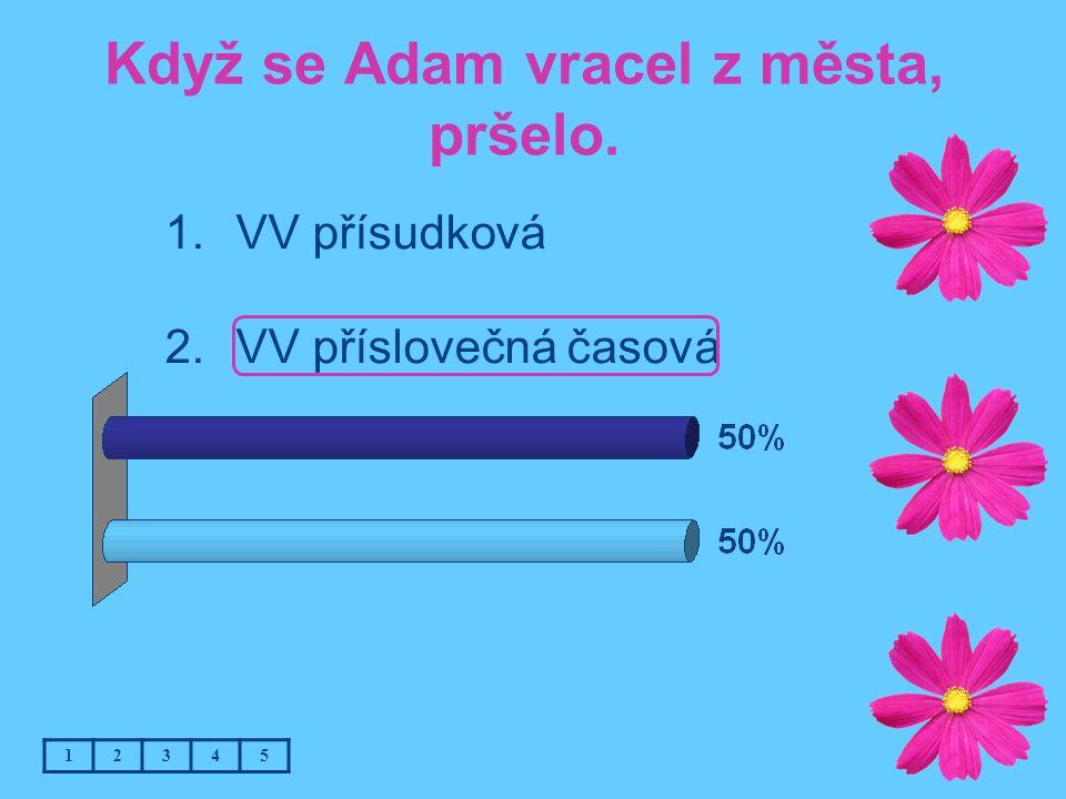 Když se Adam vracel z města, pršelo. 12345 1.VV přísudková 2.VV příslovečná časová