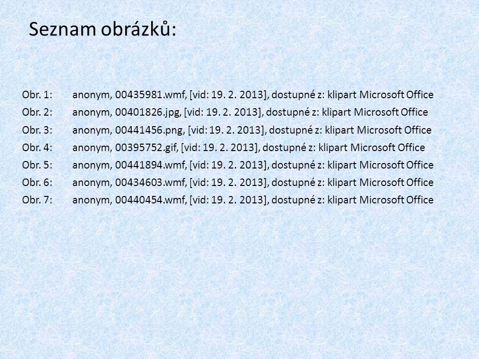 Seznam obrázků: Obr. 1: anonym, 00435981.wmf, [vid: 19. 2. 2013], dostupné z: klipart Microsoft Office Obr. 2: anonym, 00401826.jpg, [vid: 19. 2. 2013