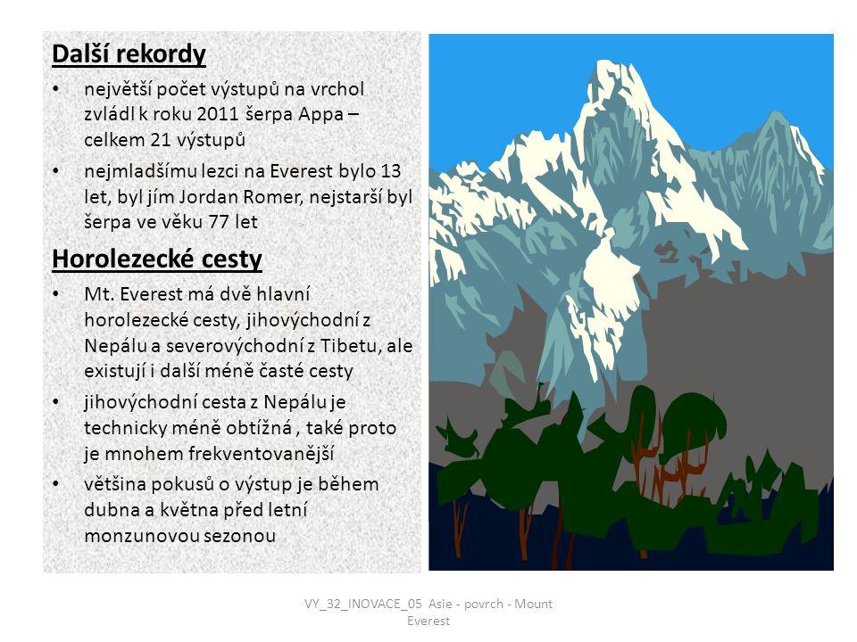 Další rekordy největší počet výstupů na vrchol zvládl k roku 2011 šerpa Appa – celkem 21 výstupů nejmladšímu lezci na Everest bylo 13 let, byl jím Jordan Romer, nejstarší byl šerpa ve věku 77 let Horolezecké cesty Mt.