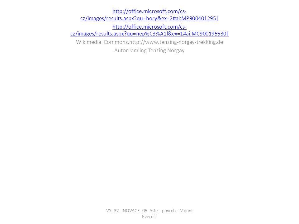 http://office.microsoft.com/cs- cz/images/results.aspx?qu=hory&ex=2#ai:MP900401295  http://office.microsoft.com/cs- cz/images/results.aspx?qu=nep%C3%A1l&ex=1#ai:MC900195530  Wikimedia Commons,http://www.tenzing-norgay-trekking.de Autor Jamling Tenzing Norgay VY_32_INOVACE_05 Asie - povrch - Mount Everest