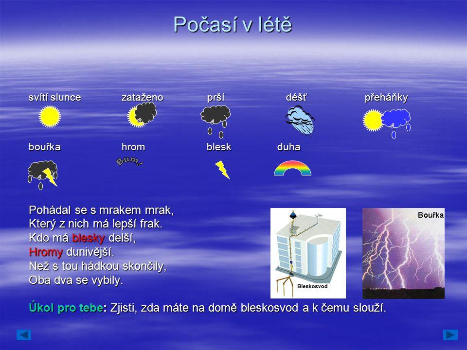 Počasí v létě svítí slunce zataženo prší déšť přeháňky bouřka hrom blesk duha Pohádal se s mrakem mrak, Který z nich má lepší frak. Kdo má blesky delš