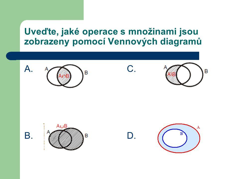 Uveďte, jaké operace s množinami jsou zobrazeny pomocí Vennových diagramů A. B. C. D.