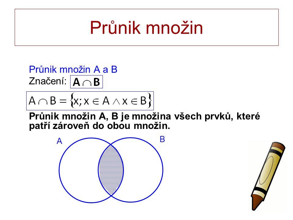 Průnik množin Průnik množin A a B Značení: Průnik množin A, B je množina všech prvků, které patří zároveň do obou množin.