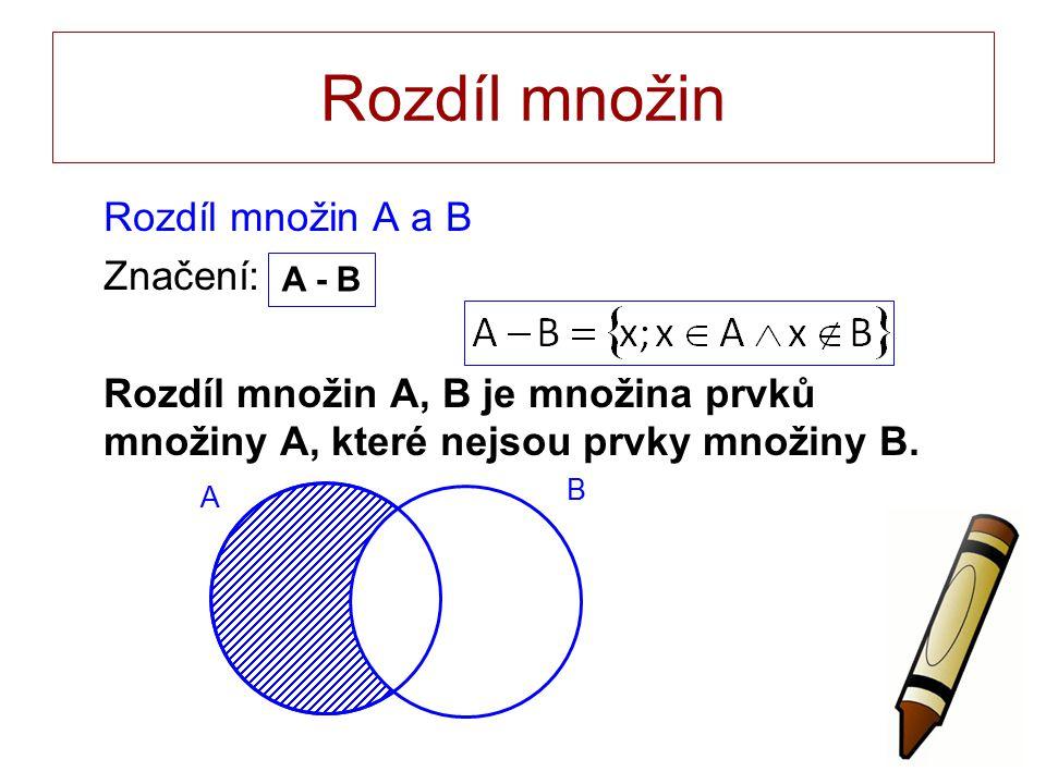 Rozdíl množin Rozdíl množin A a B Značení: Rozdíl množin A, B je množina prvků množiny A, které nejsou prvky množiny B.