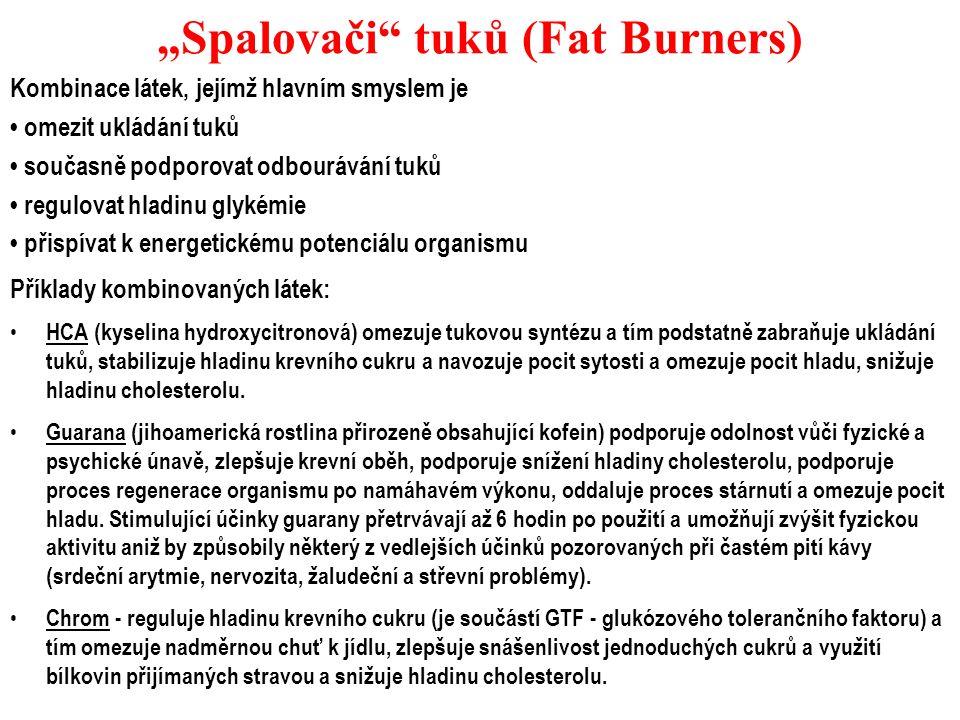 """""""Spalovači"""" tuků (Fat Burners) Kombinace látek, jejímž hlavním smyslem je omezit ukládání tuků současně podporovat odbourávání tuků regulovat hladinu"""