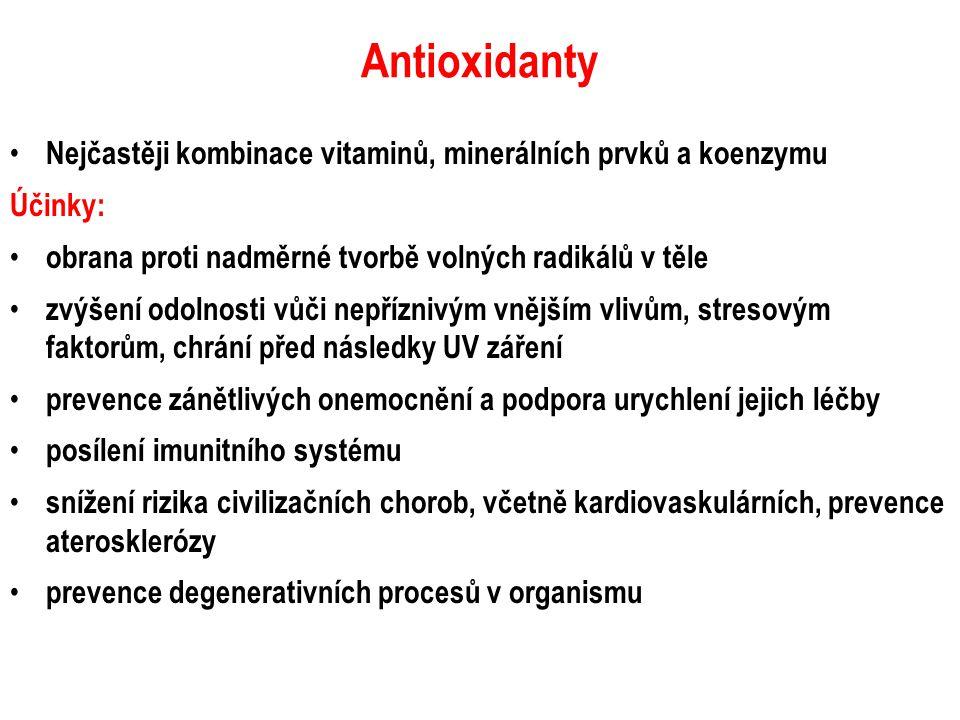 Antioxidanty Nejčastěji kombinace vitaminů, minerálních prvků a koenzymu Účinky: obrana proti nadměrné tvorbě volných radikálů v těle zvýšení odolnost