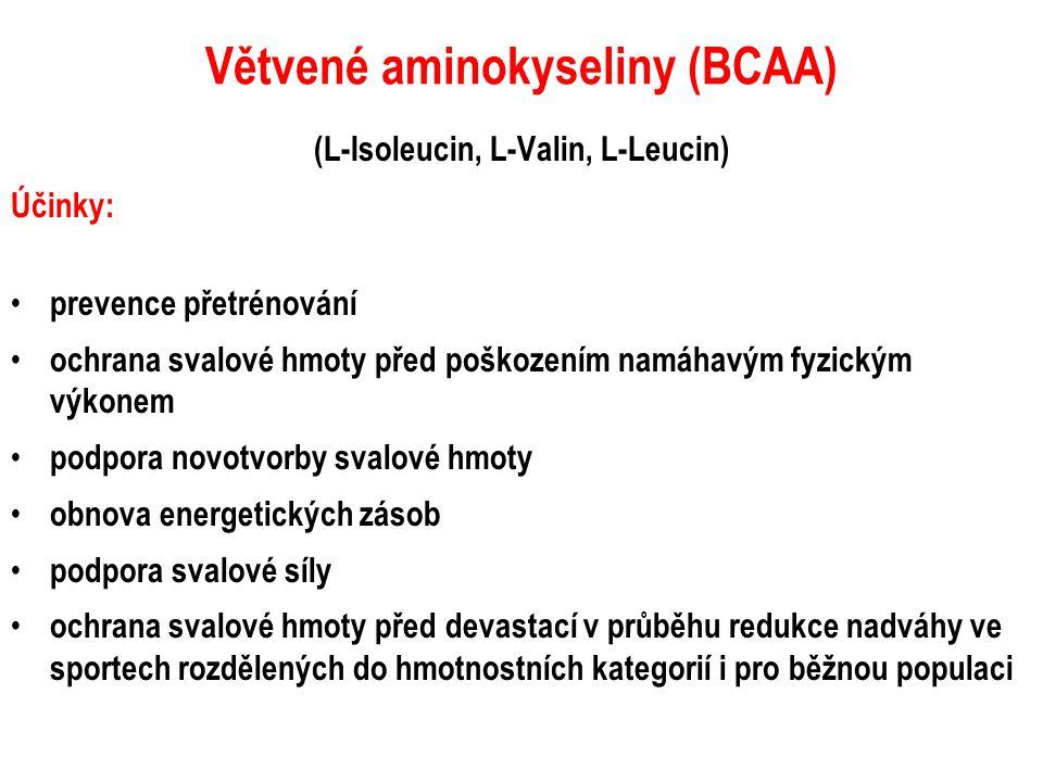 Větvené aminokyseliny (BCAA) (L-Isoleucin, L-Valin, L-Leucin) Účinky: prevence přetrénování ochrana svalové hmoty před poškozením namáhavým fyzickým v