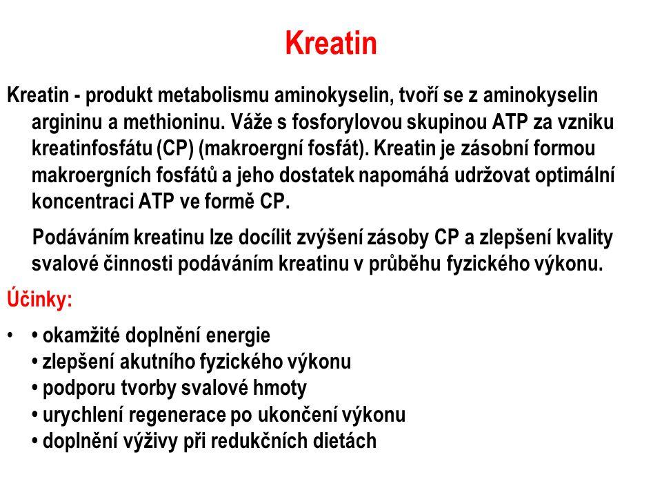 Kreatin Kreatin - produkt metabolismu aminokyselin, tvoří se z aminokyselin argininu a methioninu. Váže s fosforylovou skupinou ATP za vzniku kreatinf