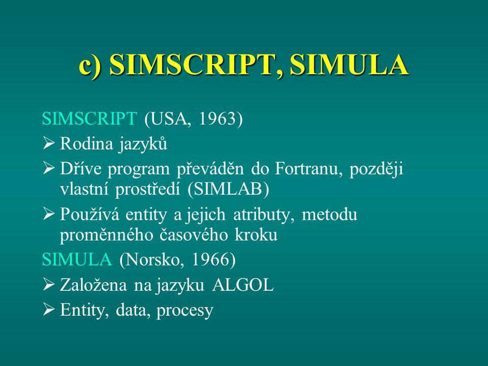 c) SIMSCRIPT, SIMULA SIMSCRIPT (USA, 1963)  Rodina jazyků  Dříve program převáděn do Fortranu, později vlastní prostředí (SIMLAB)  Používá entity a jejich atributy, metodu proměnného časového kroku SIMULA (Norsko, 1966)  Založena na jazyku ALGOL  Entity, data, procesy