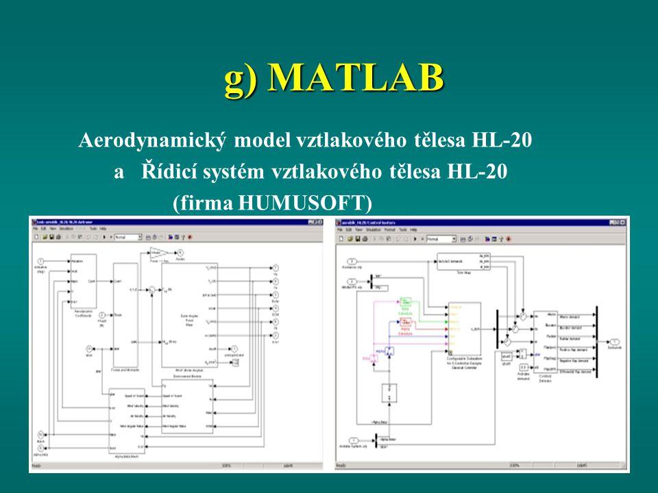 g) MATLAB Aerodynamický model vztlakového tělesa HL-20 a Řídicí systém vztlakového tělesa HL-20 (firma HUMUSOFT)