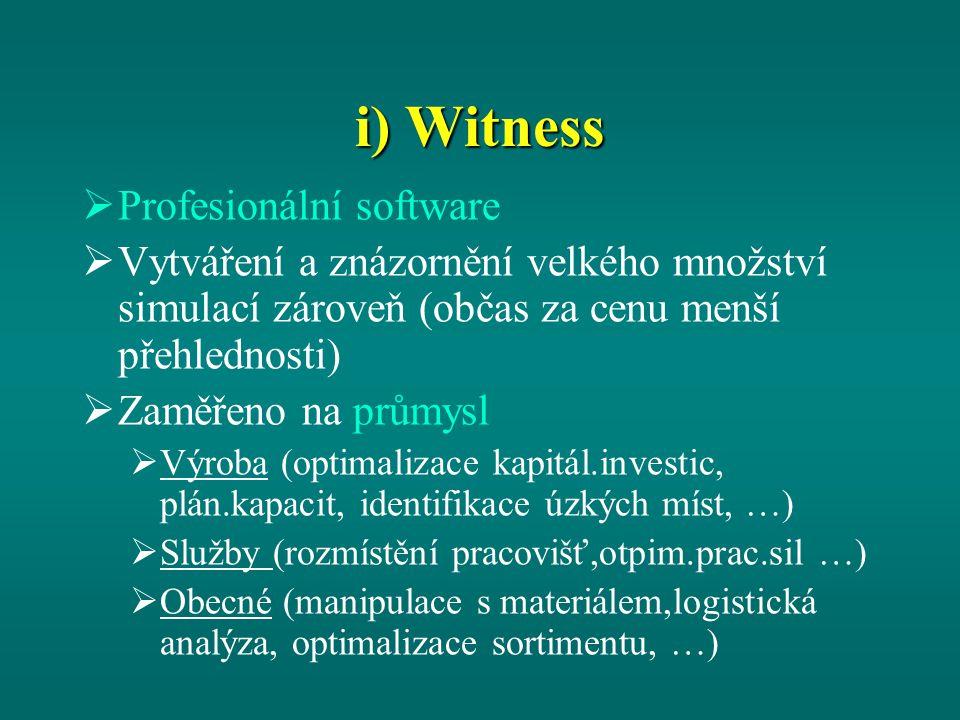 i) Witness  Profesionální software  Vytváření a znázornění velkého množství simulací zároveň (občas za cenu menší přehlednosti)  Zaměřeno na průmysl  Výroba (optimalizace kapitál.investic, plán.kapacit, identifikace úzkých míst, …)  Služby (rozmístění pracovišť,otpim.prac.sil …)  Obecné (manipulace s materiálem,logistická analýza, optimalizace sortimentu, …)