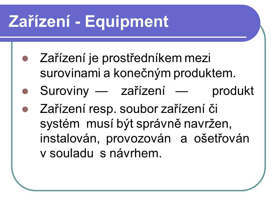 Zařízení - Equipment Zařízení je prostředníkem mezi surovinami a konečným produktem.