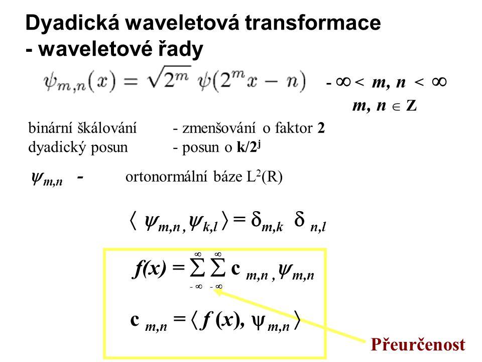 Dyadická waveletová transformace - waveletové řady -  < m, n <  m, n  Z Přeurčenost binární škálování - zmenšování o faktor 2 dyadický posun - posun o k/2 j  m,n - ortonormální báze L 2 (R)   m,n,  k,l  =  m,k  n,l f(x) =   c m,n,  m,n c m,n =  f (x),  m,n  -   