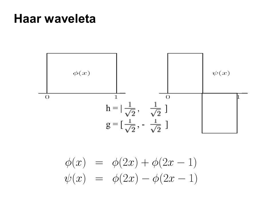 Haar waveleta g = [, - ] h = [, ]