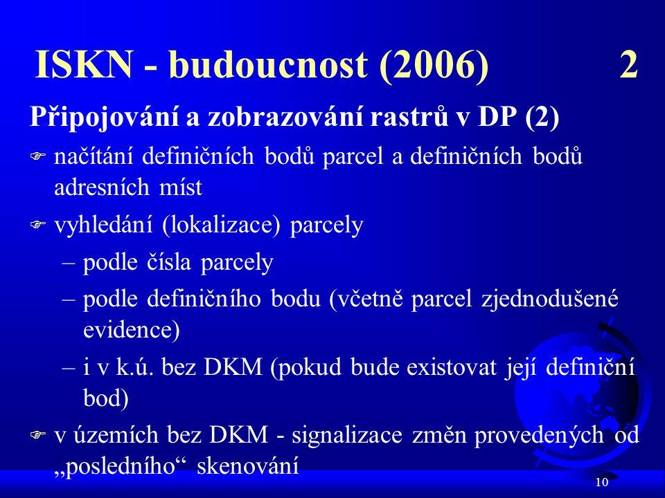 10 ISKN - budoucnost (2006) 2 Připojování a zobrazování rastrů v DP (2)  načítání definičních bodů parcel a definičních bodů adresních míst F vyhledá