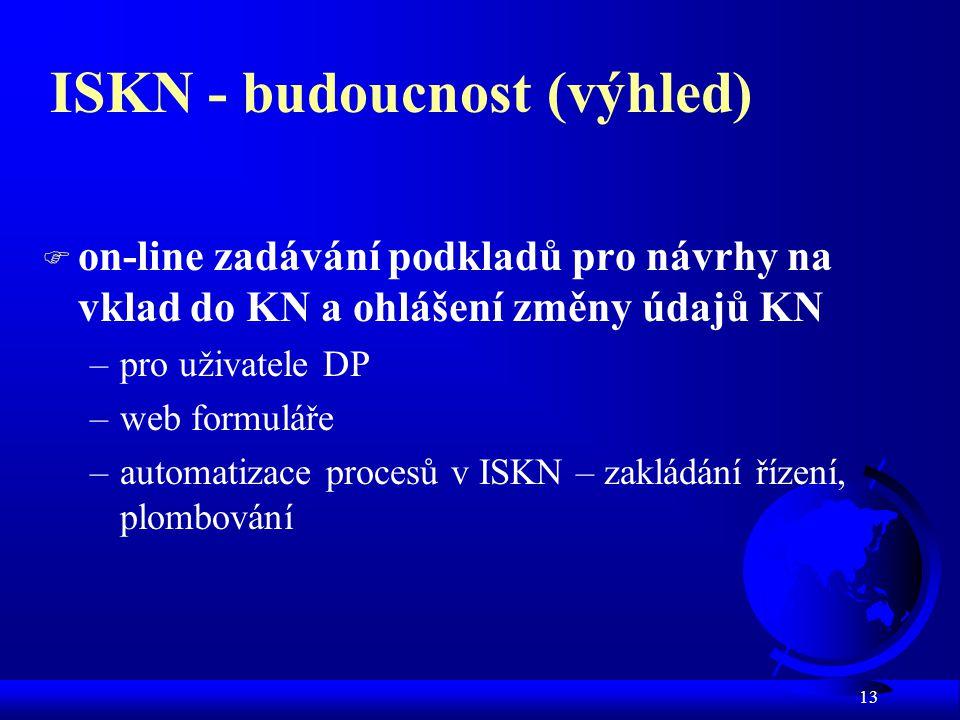 13 ISKN - budoucnost (výhled) F on-line zadávání podkladů pro návrhy na vklad do KN a ohlášení změny údajů KN –pro uživatele DP –web formuláře –automatizace procesů v ISKN – zakládání řízení, plombování